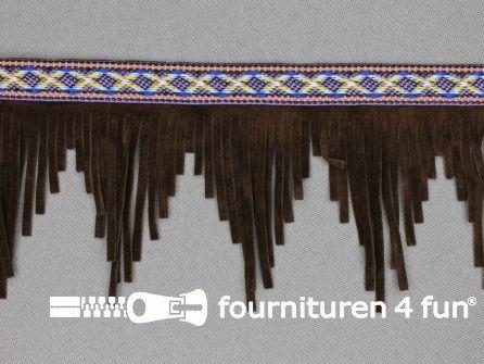 Indianen franje 60mm donker bruin