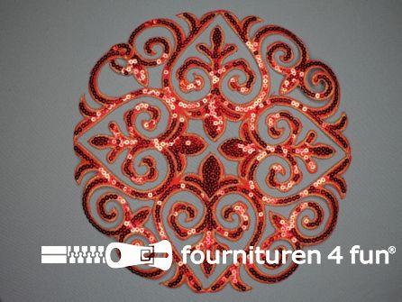 Pailletten applicatie 290x285mm extra large rood - goud