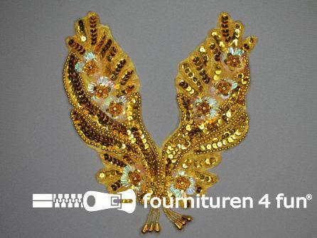 Pailletten applicatie 185x215mm inzetstuk goud