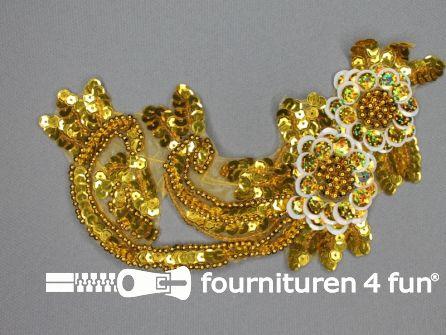 Pailletten bloem applicatie 200x140mm goud