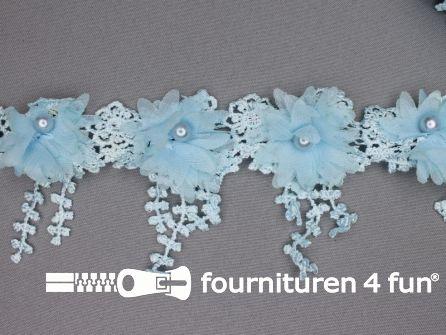 Bloemen franje 90mm licht blauw