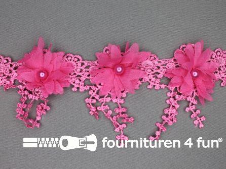 Bloemen franje 90mm fuchsia roze