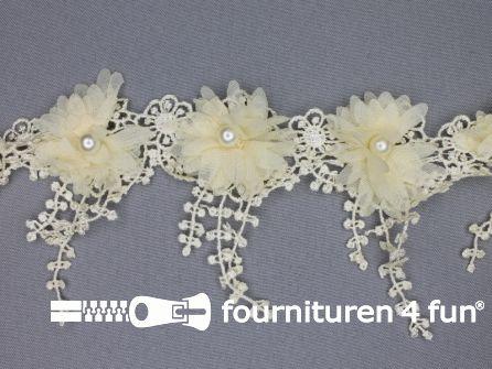 Bloemen franje 90mm ecru-beige