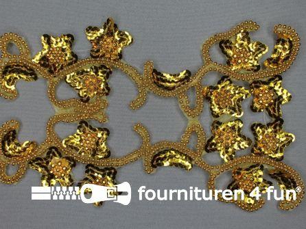 Pailletten bloem applicatie 220x130mm goud