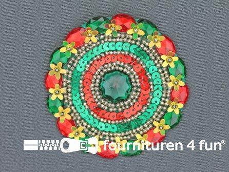 Broche 80-85mm rood - geel - groen - groene steen