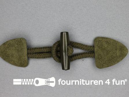 Suede houtje touwtje 150x40mm jagers groen
