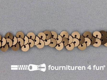 Elastische pailletten band 12mm mat bruin