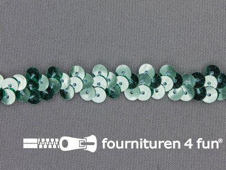 Elastische pailletten band 12mm mint groen