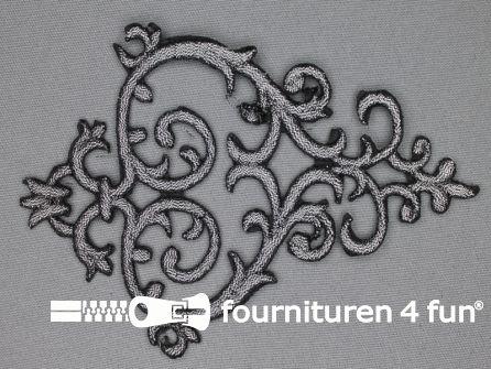 Barok applicatie 100x140mm zwart zilver