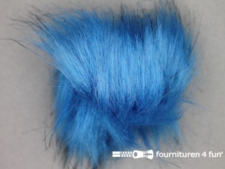 Bont pompon 8cm aqua blauw