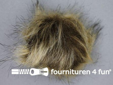 Bont pompon 8cm beige bruin