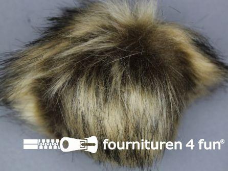 Bont pompon 12cm beige bruin