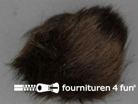 Bont pompon 12cm donker bruin