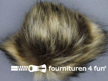 Bont pompon 15cm beige bruin