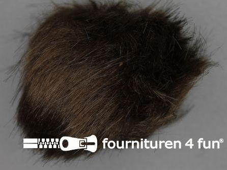 Bont pompon 15cm donker bruin