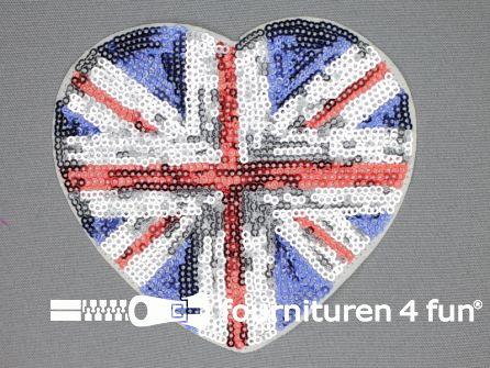 Pailletten applicatie 107x110mm vlag GB hart