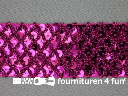 Pailletten band 40mm fuchsia met ruitjes draad