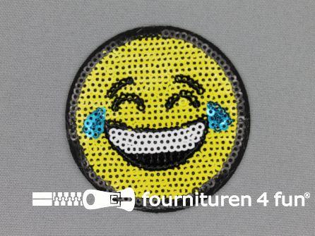 Pailletten applicatie 62mm rond smiley