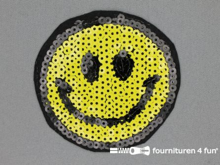 Pailletten applicatie 85mm rond smiley