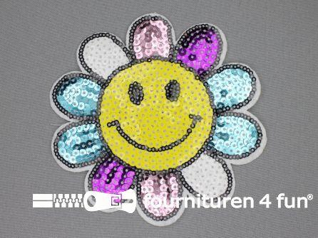 Pailletten applicatie 125mm rond smiley bloem