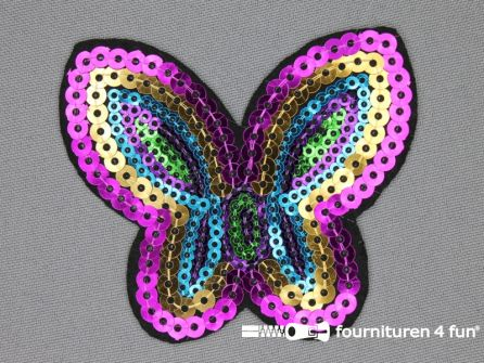 Pailletten applicatie 75x65mm multicolor - vlinder