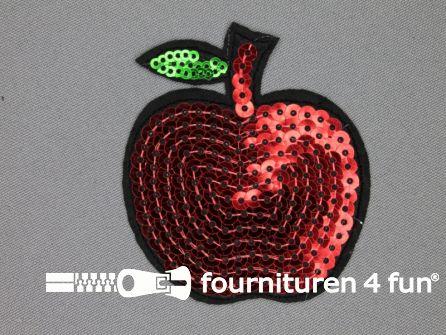 Pailletten applicatie 70x60mm rood groen - appel