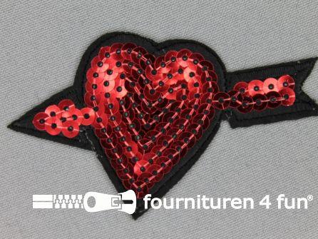 Pailletten applicatie 83x48mm rood - hart met pijl