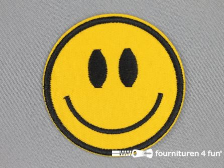 Applicatie 70mm rond geel - smiley