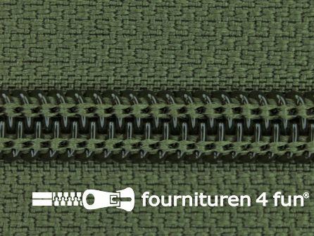 Deelbare spiraal rits nylon 6mmx240cm leger groen