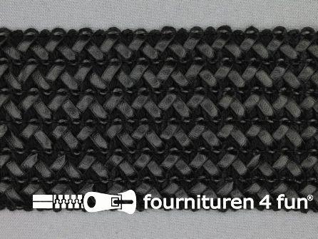 COUPON 90cm Design elastiek 70mm leather-look - zwart