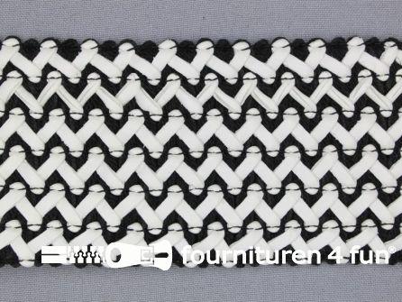 COUPON 1,75 meter Design elastiek 70mm leather-look - zwart wit