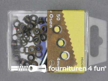 Ringen en schijven 4mm geel brons 50 stuks