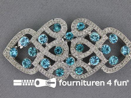 Strass stenen sluiting 28mm aqua blauw