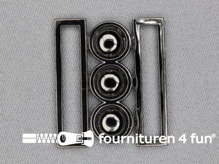 Inhaakgesp 40mm zwart zilver