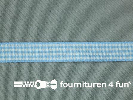 Ruitjes lint 10mm aqua blauw