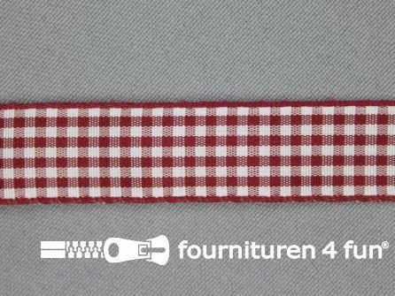 Ruitjes lint 15mm bordeaux rood