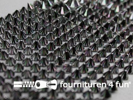 Strass band 85mm spikes zwart zilver