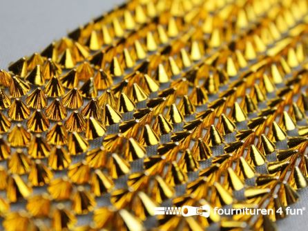Strass band 85mm breed met gouden spikes