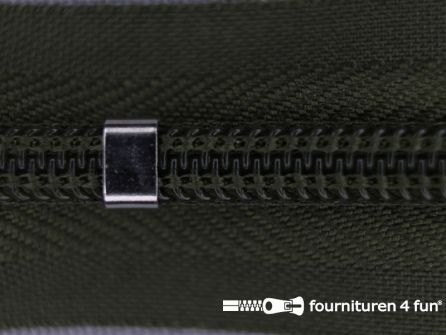 Niet deelbare blinde rits - verstelbaar - 4mm leger groen