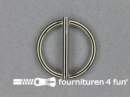 Schuifgesp rond 20mm zilver