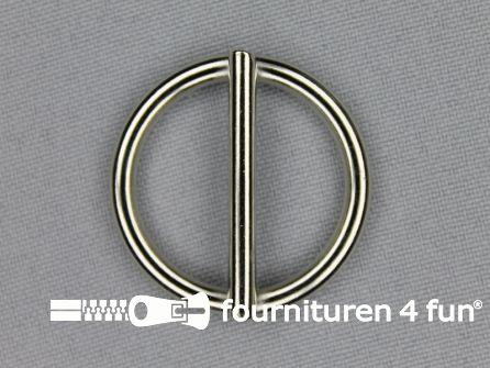 Schuifgesp rond 25mm zilver