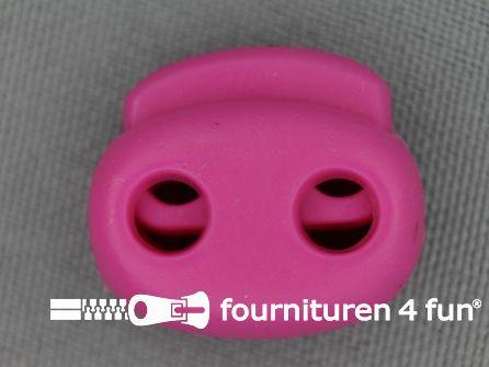 Koord stopper 21mm dubbel fuchsia roze