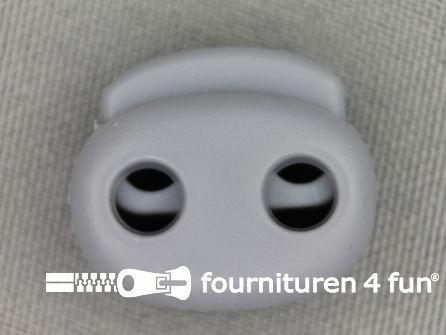 Koord stopper 21mm dubbel licht grijs