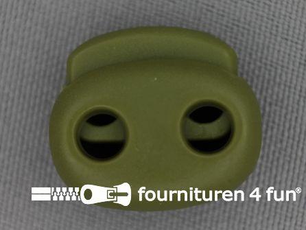 Koord stopper 21mm dubbel leger groen