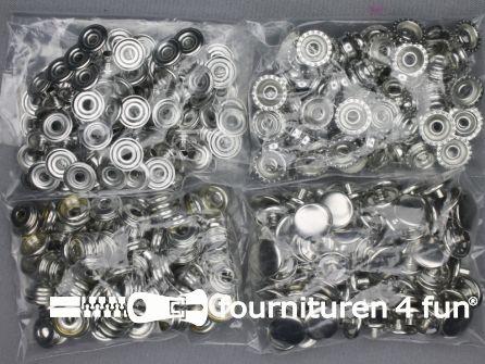 Sport + Camping drukkers 15mm zilver 100 stuks
