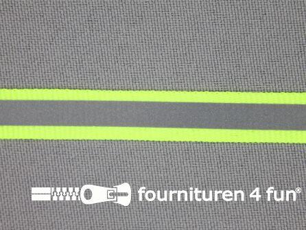 Rol 50 meter reflecterende band 10mm neon geel
