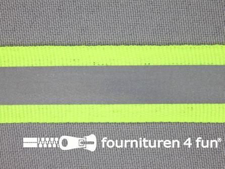 Rol 50 meter reflecterende band 20mm neon geel
