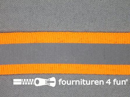 Rol 50 meter reflecterende band 20mm neon oranje