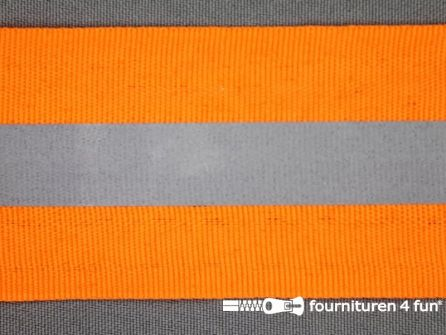 Rol 50 meter reflecterende band 50mm neon oranje