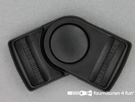 Draaibare schuifgesp 25mm zwart kunststof